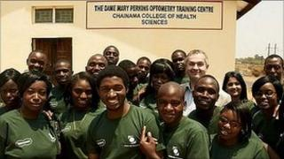 Zambian optometric students and Ken Macdonald, Specsavers Scottish Oban store director