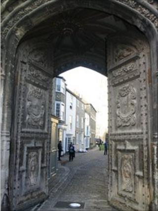 Carved wooden gates at Christ Church Gate