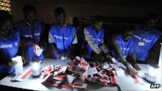 Votes being counted in Liberia