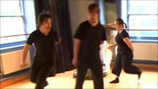 Full Body and the Voice company rehearse