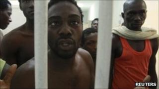 Suspected Gaddafi mercenaries in Tripoli jail. Photo: September 2011