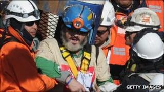 Miner Jorge Galleguillos is rescued from the San Jose mine