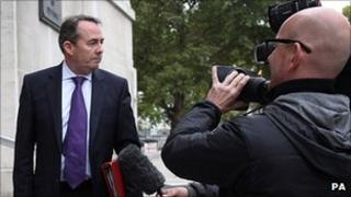 Liam Fox outside the Cabinet Office