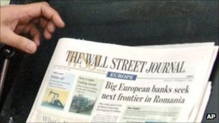 A copy of WSJ Europe at its Brussels printing press