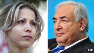 Composite image of French writer Tristane Banon and Dominique Strauss-Kahn