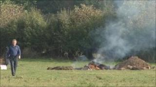 The carcass of a cow being burned on a Herefordshire farm