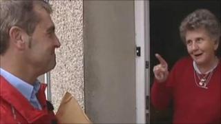Stephen Bennett meets a customer on his round