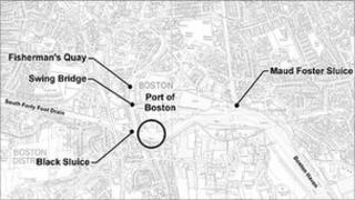 Map with the preferred location of the flood barrier marked with a circle. Image courtesy of the Environment Agency