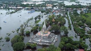 Aerial photo of flooded ancient capital city of Ayutthaya, north of Bangkok, on 16 October 2011