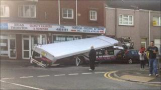 The damaged bus in Swansea. Picture: Kirsty Luke