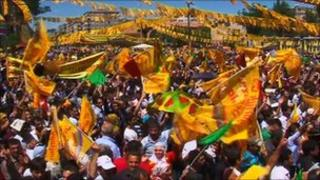 A rally of Turkey's main Kurdish political party, the BDP