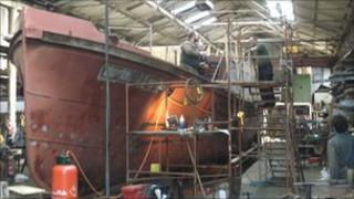 The Massey Shore being worked on at Gloucester Docks