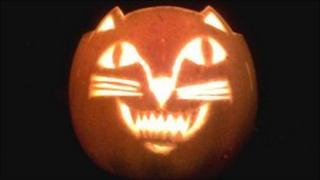 A Halloween lantern made from a pumpkin