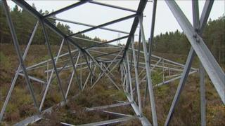 Electricity tower comes down. Pic: Brian Ashman/BBC
