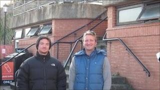 Stu Thompson (left), North Norfolk Surf Lifesaving Club, and Ben Kewell (right), Glide Surf School, outside the front of a toilet block in Cromer, Norfolk, that will become the town's new surfing facility