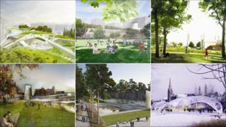 The six designs shortlisted for Union Terrace Gardens in Aberdeen