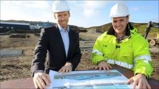 Mark Georgeson and John Henderson, at the site for new premises in Lerwick, Shetland