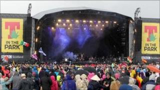 Fans watch Ke$ha at T in the Park
