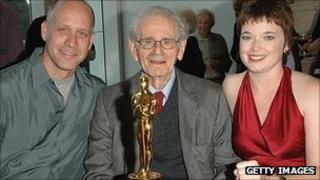 Norman Corwin with A Note of Triumph director Eric Simonson (l) and producer Corrine Marrian (r)