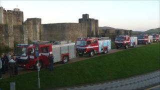 Fire engines outside Caerphilly Castle