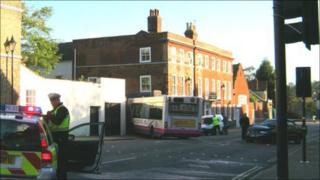 Bus and taxi collision, Bury St Edmunds