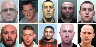 Top row, from left: Dominic Stephen Powell, Simon Dutton, Andrew Terrence Moran, Kirk Bradley, and Tony Downes. Bottom row, from left: Derek McGraw Ferguson, William Thomas Robert Paterson, Allan James Foster, Kevin Thomas Parle, and Christopher Guest More.