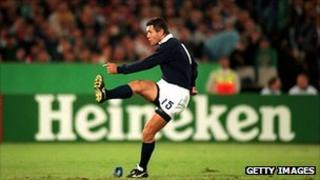 Gavin Hastings of Scotland in action against France in the 1995 Rugby World Cup in South Africa