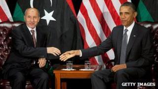 Interim Libyan leader Mustafa Abdel Jalil and US President Obama at the UN, September 2011
