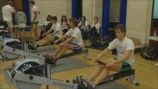 Team of rowers from the University of Nottingham attempting to set a new world record for producing electricity using only human power