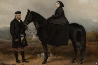 Portrait of Queen Victoria and her servant John Brown