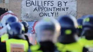 Riot police prepare to evict travellers and their supporters from Dale Farm, near Basildon, east of London, on October 19, 2011