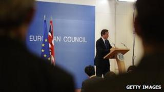 David Cameron speaks during a press conference as part of an European Council at the Justus Lipsius building, EU headquarters in Brussels