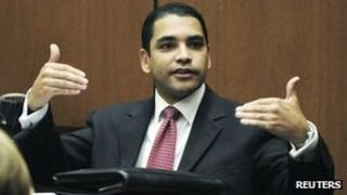 LAPD Detective Orlando Martinez testifies during the Dr Conrad Murray trial on 24 October 2011