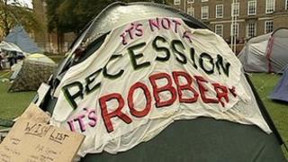 Occupy Bristol protesters on College Green in Bristol