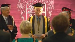 Rhodri Morgan being installed as chancellor of Swansea University