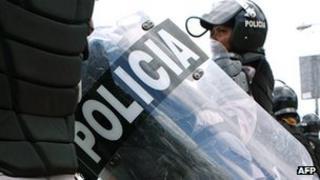 A row of police women in combat gear in Santo Domingo, file image