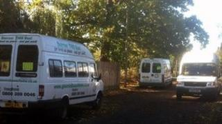 Minibuses parked in Frome Gardens