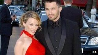 Kylie Minogue and then boyfriend Olivier Martinez in 2003