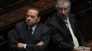 Italian Prime Minister Silvio Berlusconi with Northern League leader, Umberto Bossi - 22 September 2011