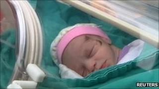 A baby girl rescued in Ercis, Turkey