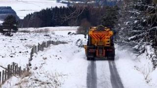 Gritting lorry in snow in Perthshire