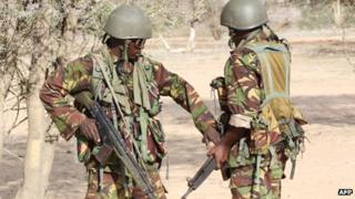 Kenyan troops near Somali border