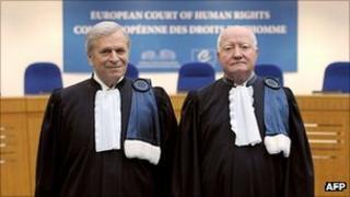 President of the European Court of Human Rights, Nicolas Bratza (left) with his predecessor Jean Paul-Costa