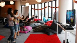 Groupon lounge area for staff to relax and play video games