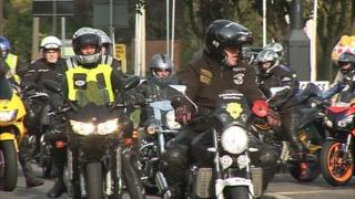 Bikers taking part in the third BBC Radio Derby charity motorbike ride