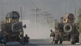 US soldiers near the US base in Kandahar on 27 October 2011