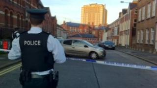 Police at the scene of the incident in south Belfast