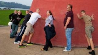 Feel Good Friday group during a training session on the Plymouth Hoe