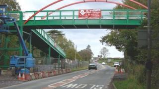The bridge which crosses the A4244