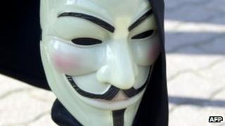 "A Guy Fawkes mask associated with the ""Anonymous"" group"
